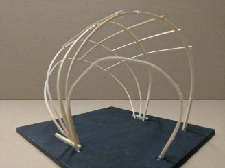Basswood wireframe skeleton used to outline a conceptual geometry